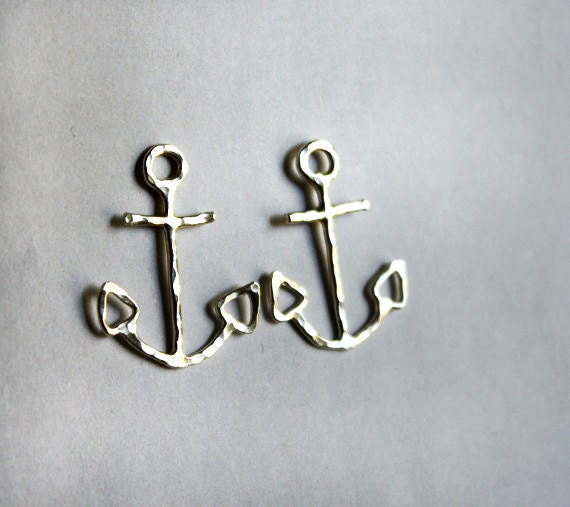 Oversized Sterling Silver Anchor Studs