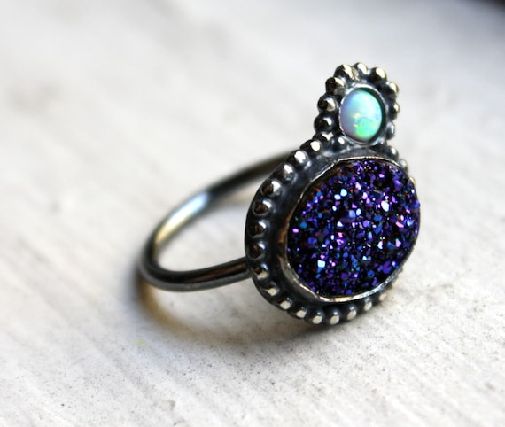 Blue Drusy and Opal in Orbit Ring- Handmade and OOAK