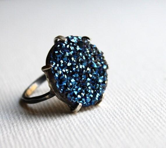 Blue Drusy Pronged Ring- Handmade by Rachel Pfeffer