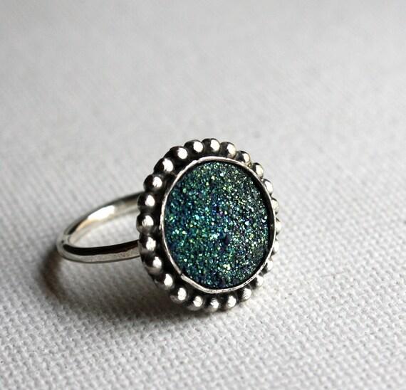 Round Sea Foam Green Drusy Ring- Handmade Sterling Silver One of a Kind by Rachel Pfeffer