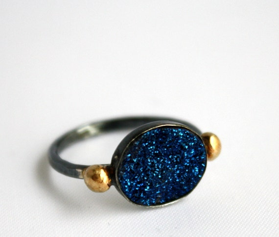Blue Drusy Ring in Sterling Silver with 14k Gold Pebbles - Handmade and One of a Kind, by Rachel Pfeffer