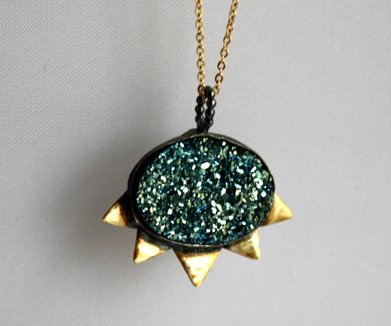 Teal Blue Green Drusy with Triangles Pendant - Handmade and one of a kind