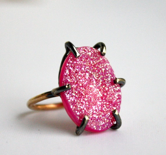 Hot Pink Drusy in Oxidized Sterling Silver Prong Setting on Gold Fill Band- Handmade by Rachel Pfeffer