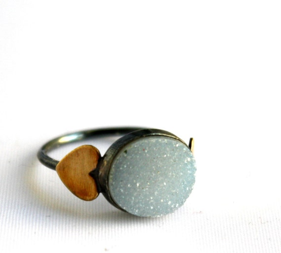 Snow White Drusy Ring - Black Oxidized Handmade Sterling Silver with Brass Hearts Ring
