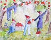 Picking apples, ACEO