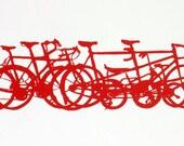 Bicycle Art Print - Bike Stack Mini 10-23 Red on Cream