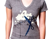 Clearance Sale - Women's Tshirt - Bird on a Wire - Graphic Tee - Cloud Shirt - Scissors - Plus Size Shirts - V-neck T-shirt