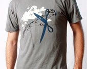 Clearance Sale - Men's Tshirt - Bird on a Wire - Graphic Tee - Cloud Shirt - Scissors - Plus Size Shirts