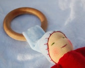 Red and Blue Baby -- A Waldorf Inspired Natural Teething Ring Doll