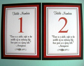5x7 Flat Custom Printed Wedding Table Number Signs - Any Color or Design