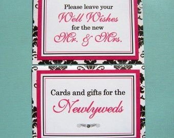 Two 5x7 Flat Paper Wedding Signs in Black and White Damask and Hot Pink - Wedding Guest Book Sign and Cards and Gifts Table Sign