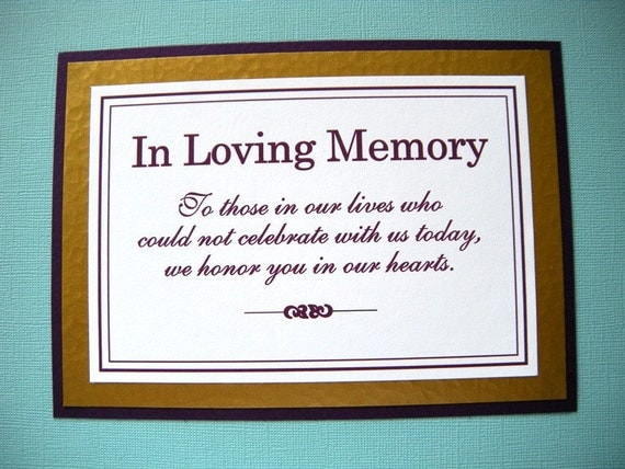 5x7 Tent Folded In Loving Memory Wedding Sign in Dark Purple and Metallic Gold   - READY TO SHIP