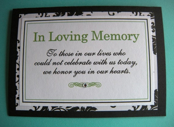 5x7 Tent Folded In Loving Memory Wedding Sign In Black And