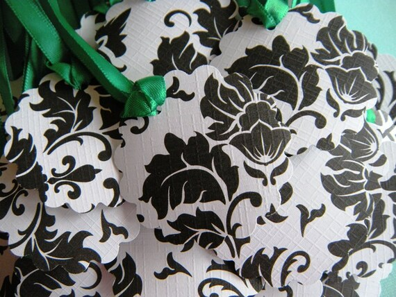 25 Textured Black and White Damask 2 Inch Scalloped Circle Party Favor Tags with Satiny Green Ribbon RESERVED FOR LAUREN