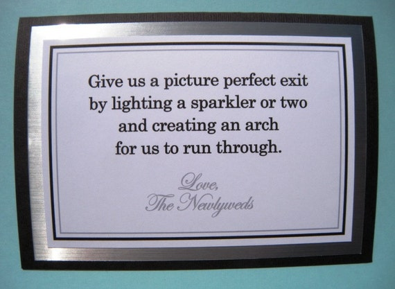 5x7 Tent Folded Sparkler Exit Wedding Sign in Black, Metallic Silver and White - READY TO SHIP