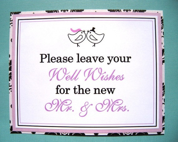 8x10 Flat Love Birds Please Leave Your Well Wishes for the Mr. and Mrs. Wedding Sign in Black & White Damask and Lavender READY TO SHIP