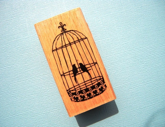 Love Birds in Ornate Cage Wood Mounted Rubber Stamp