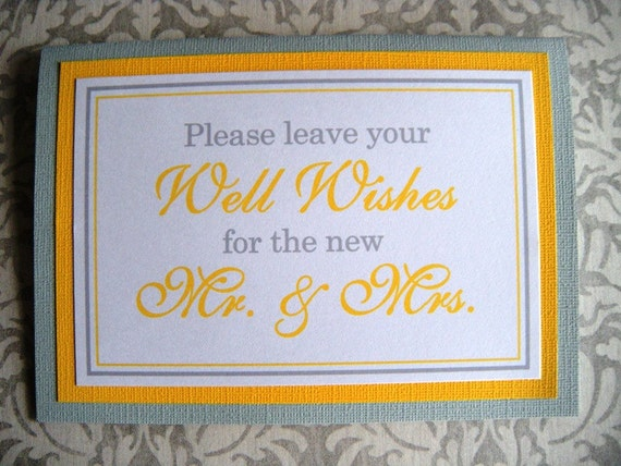 5x7 Tent Folded Please Leave Your Well Wishes for the New Mr. & Mrs. Guest Book Sign in Bright Yellow and Gray  - Ready to Ship