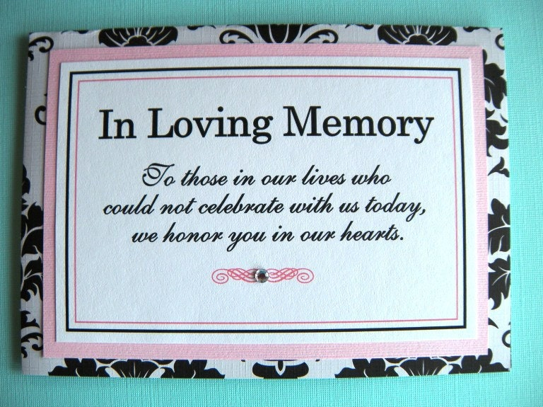 5x7 tent folded in loving memory wedding sign by weddingsbysusan for In loving memory wedding sign
