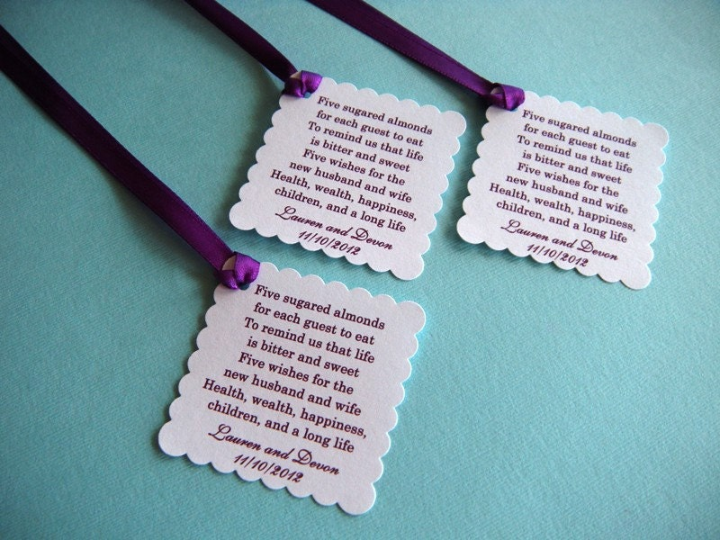 500 Custom Printed Jordan Almond Wedding Favor Tags In White