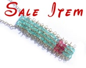 30 Percent Off - Hand Woven Apatite Silver Necklace