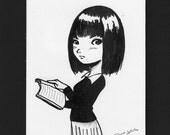 Shhhh - Original matted ink illustration