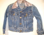 Rocker Jacket with nail heads and rhinestones on recycled jean jacket