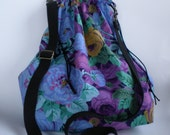 Purple Floral Lace Knitting Large Drawstring Project Bag