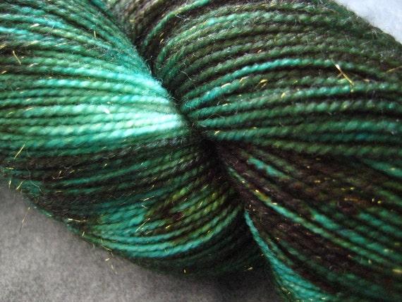 "Hand Dyed Sparkle Sock Yarn - 438 yds - ""Dryad"""