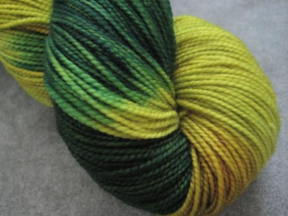 "Hand Dyed Sock Yarn - SW Merino - 400 yards - ""Zombie Slime"""