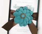 Luxury Teal and Brown Flower Boxed Wedding Invitation - Teal Splendor