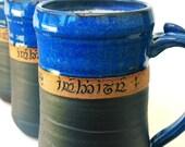 Custom Elvish  Script Carved Tankard, Stein, Personalized Pottery by Mud Pie Studio NC