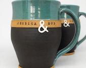 Personalized Pottery Mugs, 2-Piece Set , Custom Name Mugs (TM) Handmade from scratch