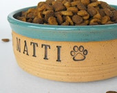 Custom Dog Bowl,  Large, Personalized, Scratch Made, Pottery by Mud Pie Studio
