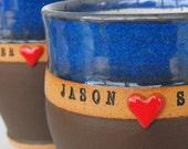 2 Piece Set, Sweetheart Custom Name Mugs (TM), Personalized Pottery, Wheel Thrown Coffee Cups