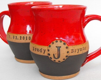 2-Piece Set, Commemorative Wedding or Anniversary Mugs, Names, Monogram and Date by Mud Pie Studio