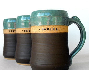 Huge Custom Beer Mug, Stein, Personalized Pottery by Mud Pie Studio (perfect Groomsmen Gift)