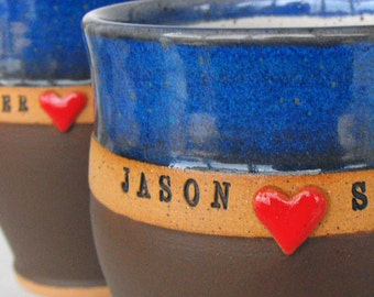 2 Piece Set, Sweetheart Custom Name Mugs (TM), Personalized Pottery, Wheel Thrown Coffee Cups