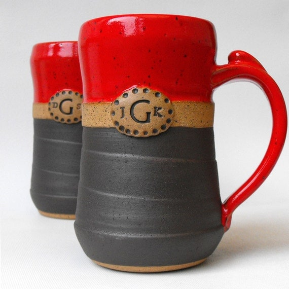 personalized pottery tankards mugs two custom monogrammed