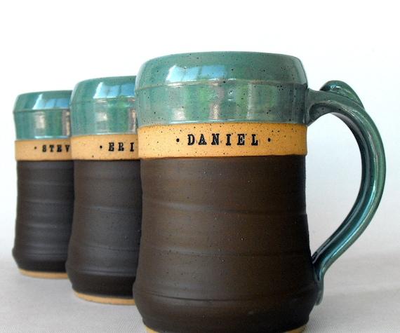 huge custom beer mug stein personalized pottery by mud pie. Black Bedroom Furniture Sets. Home Design Ideas