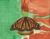 butterfly yoga collage si mariposa, reclaimed wood block