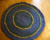 Rag rug traditional Blue Green and Gold hand Crochet 31""