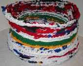 Basket 18x 10 Hand Crochet Hockey Jersey laundry/toy/organizing basket, Laundry basket, hamper, toy box, basket, laundry,