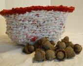 Basket 18x 9.5 Hand Crochet Plastic Bag laundry/toy basket, hamper, bin,