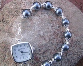 Pewter Pearl and silver interchangeable watch
