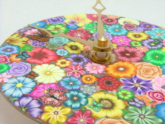 Upcycled CD, Beautiful Colorful Millefiori Floral Polymer Clay Clock