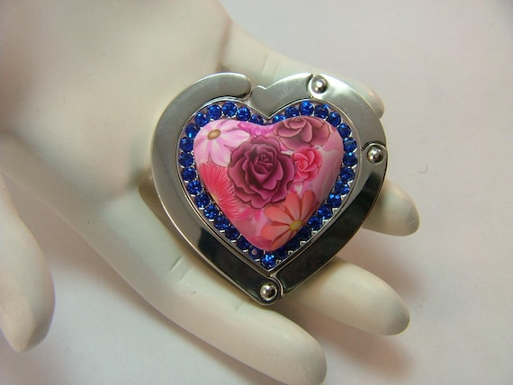 Handcrafted Heart Shaped Pink Millefiori Floral Polymer Clay Embellished Purse Hanger