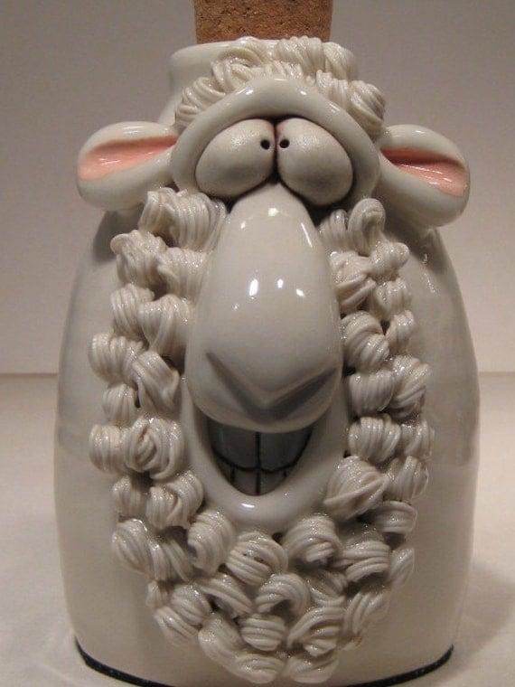 Happy White Sheep ... Soft Soap or Lotion Dispenser ... Baaahhh ...
