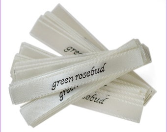 120 Personalized pre-cut satin ribbons clothing labels fabric labels 5 color choices