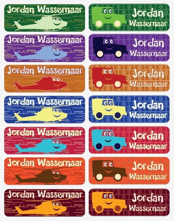 Personalized iron on name labels with helicopter cars designs cotton labels